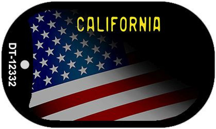 California with American Flag Novelty Metal Dog Tag Necklace DT-12333