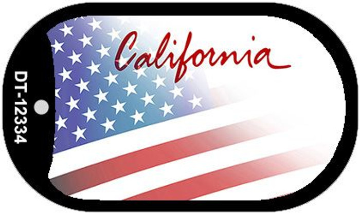 California with American Flag Novelty Metal Dog Tag Necklace DT-12334