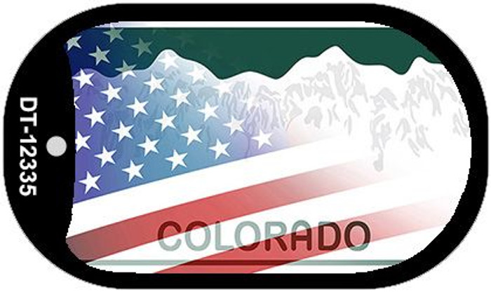 Colorado with American Flag Novelty Metal Dog Tag Necklace DT-12335