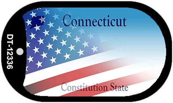 Connecticut with American Flag Novelty Metal Dog Tag Necklace DT-12336