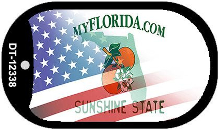 Florida with American Flag Novelty Metal Dog Tag Necklace DT-12338