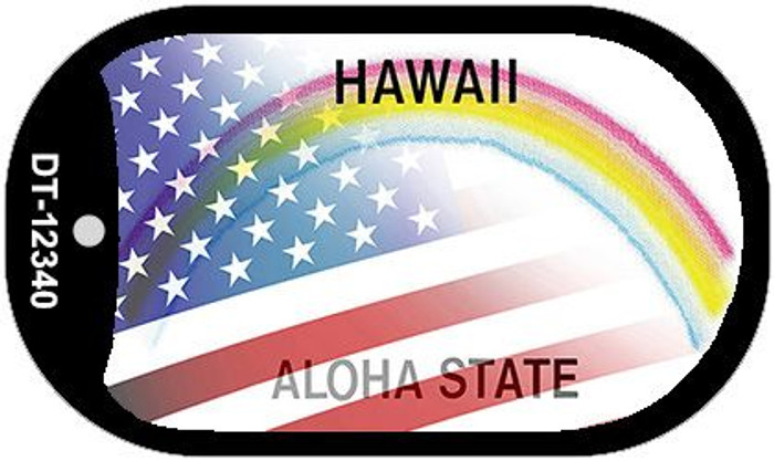 Hawaii with American Flag Novelty Metal Dog Tag Necklace DT-12340