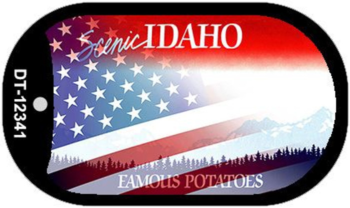 Idaho with American Flag Novelty Metal Dog Tag Necklace DT-12341