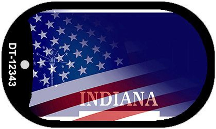 Indiana with American Flag Novelty Metal Dog Tag Necklace DT-12343