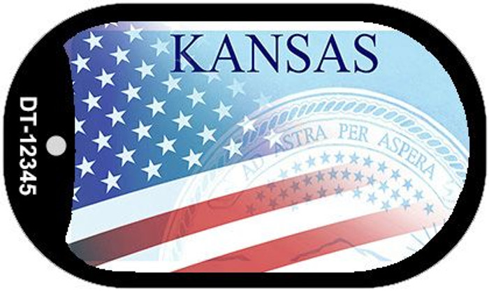 Kansas with American Flag Novelty Metal Dog Tag Necklace DT-12345