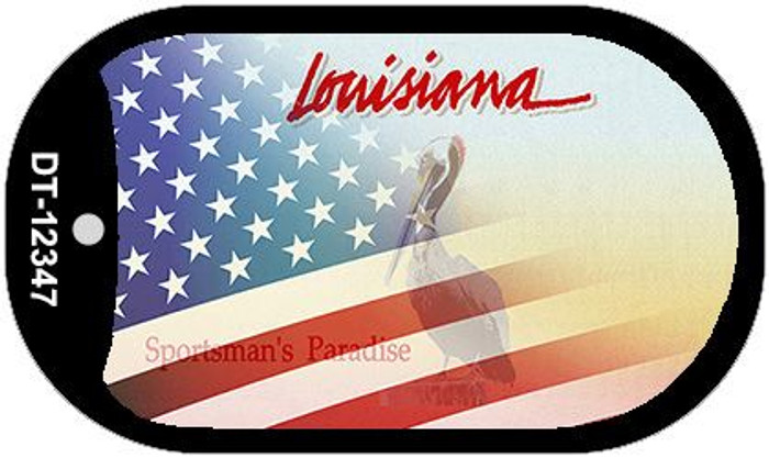 Louisiana with American Flag Novelty Metal Dog Tag Necklace DT-12347