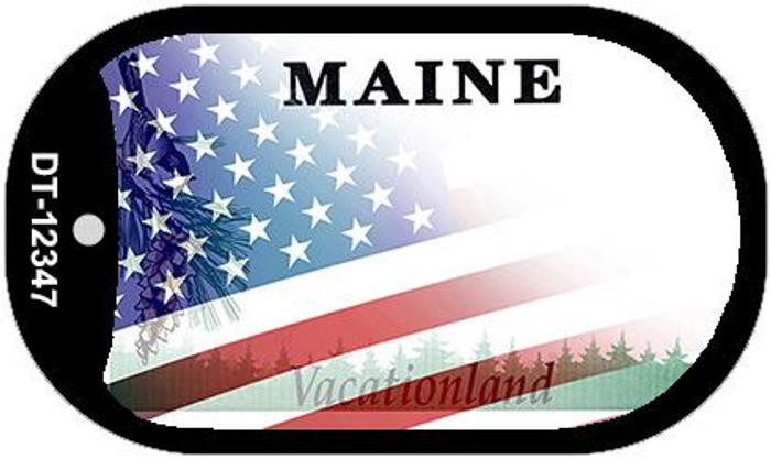 Maine with American Flag Novelty Metal Dog Tag Necklace DT-12348
