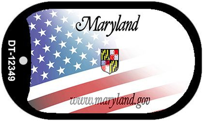Maryland with American Flag Novelty Metal Dog Tag Necklace DT-12349