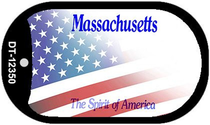 Massachusetts with American Flag Novelty Metal Dog Tag Necklace DT-12350