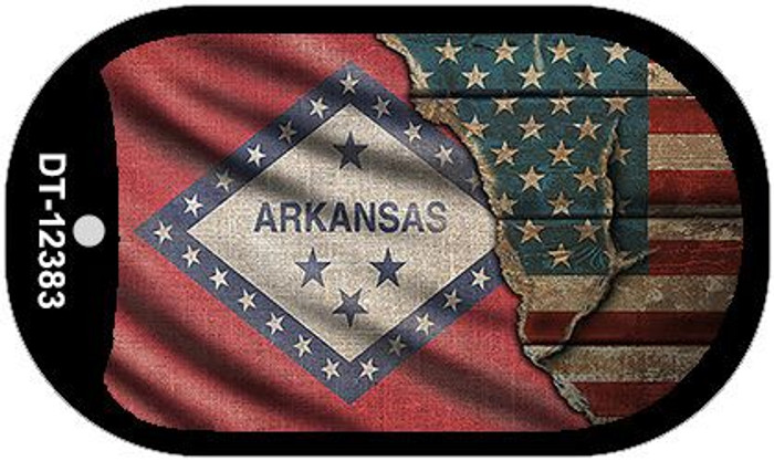Arkansas/American Flag Novelty Metal Dog Tag Necklace DT-12383