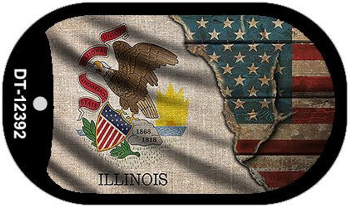 Illinois/American Flag Novelty Metal Dog Tag Necklace DT-12392