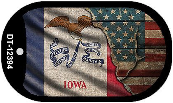 Iowa/American Flag Novelty Metal Dog Tag Necklace DT-12394
