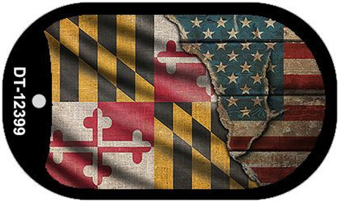 Maryland/American Flag Novelty Metal Dog Tag Necklace DT-12399