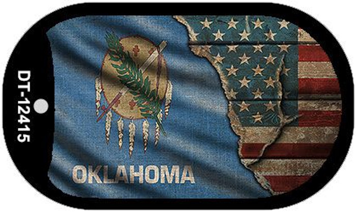 Oklahoma/American Flag Novelty Metal Dog Tag Necklace DT-12415