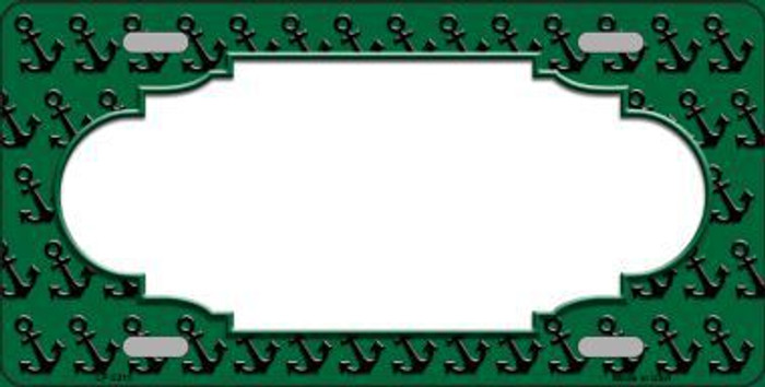 Green Black Anchor Print With Scallop Center Metal Novelty License Plate LP-5315