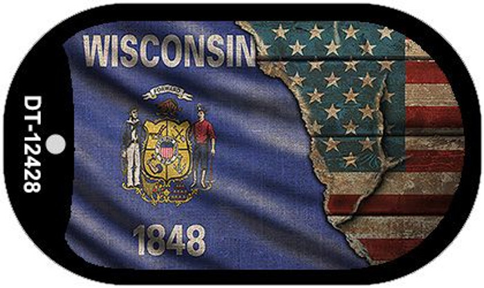 Wisconsin/American Flag Novelty Metal Dog Tag Necklace DT-12428