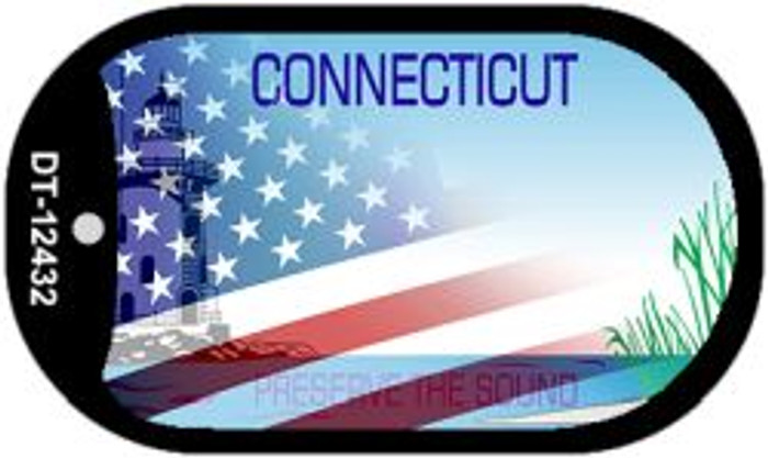 Connecticut with American Flag Novelty Metal Dog Tag Necklace DT-12432