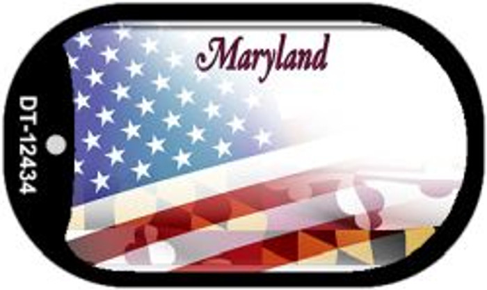 Maryland with American Flag Novelty Metal Dog Tag Necklace DT-12434