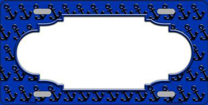 Blue Black Anchor Print With Scallop Center Metal Novelty License Plate LP-5316