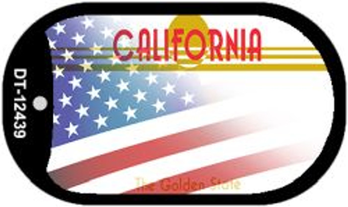 California with American Flag Novelty Metal Dog Tag Necklace DT-12439