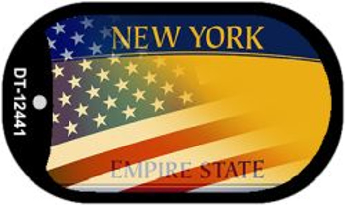New York with American Flag Novelty Metal Dog Tag Necklace DT-12441