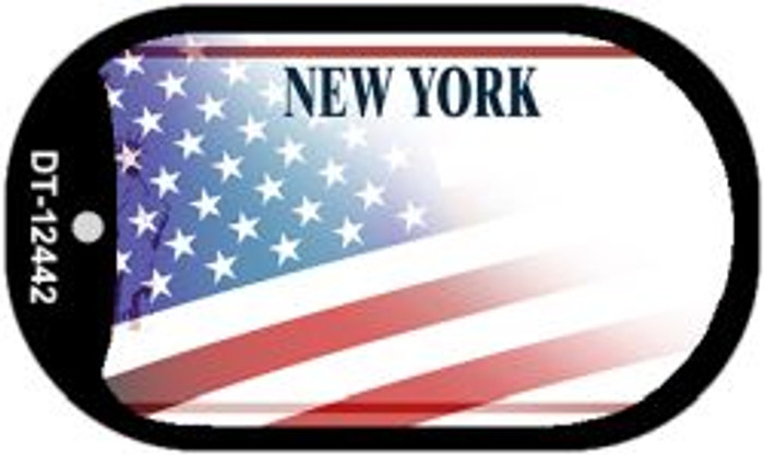 New York with American Flag Novelty Metal Dog Tag Necklace DT-12442