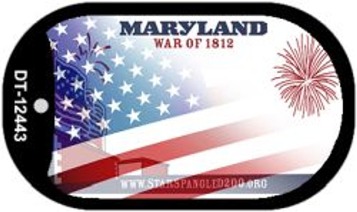 Maryland with American Flag Novelty Metal Dog Tag Necklace DT-12443