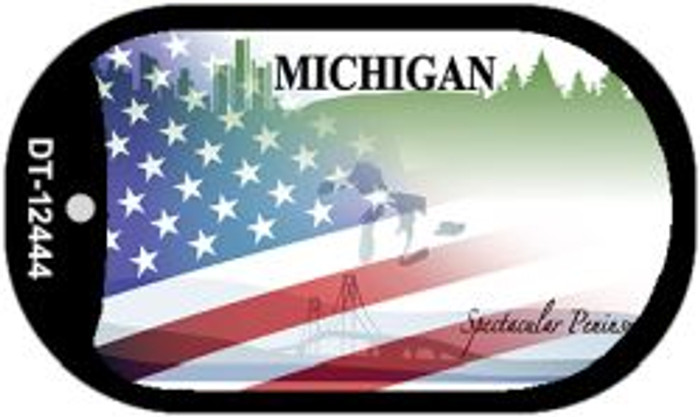 Michigan with American Flag Novelty Metal Dog Tag Necklace DT-12444