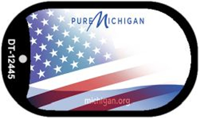 Michigan with American Flag Novelty Metal Dog Tag Necklace DT-12445