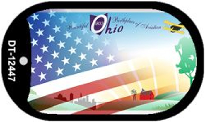 Ohio with American Flag Novelty Metal Dog Tag Necklace DT-12447