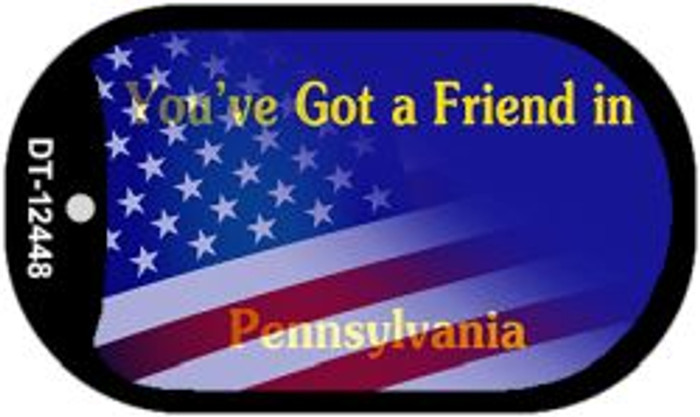 Pennsylvania with American Flag Novelty Metal Dog Tag Necklace DT-12448