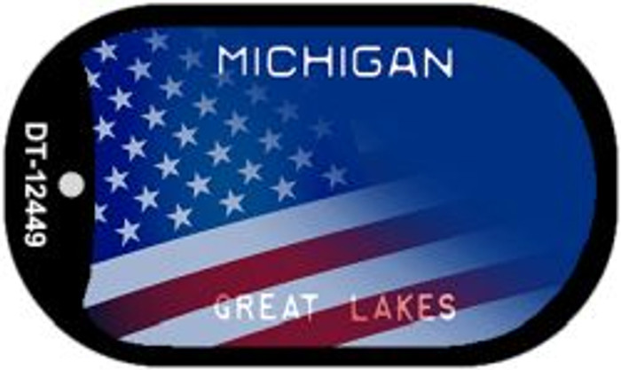 Michigan with American Flag Novelty Metal Dog Tag Necklace DT-12449