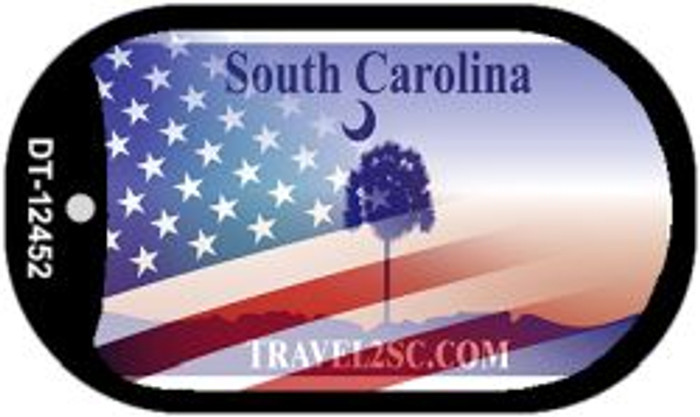 South Carolina with American Flag Novelty Metal Dog Tag Necklace DT-12452