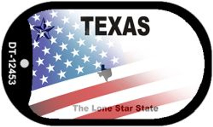 Texas with American Flag Novelty Metal Dog Tag Necklace DT-12453