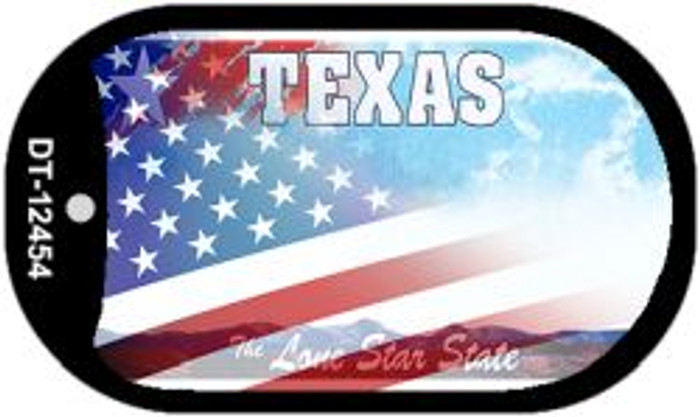 Texas with American Flag Novelty Metal Dog Tag Necklace DT-12454