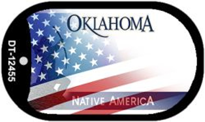Oklahoma with American Flag Novelty Metal Dog Tag Necklace DT-12455