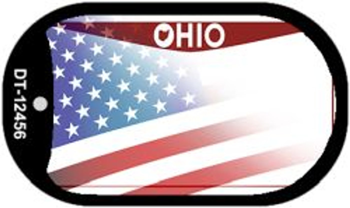 Ohio with American Flag Novelty Metal Dog Tag Necklace DT-12456
