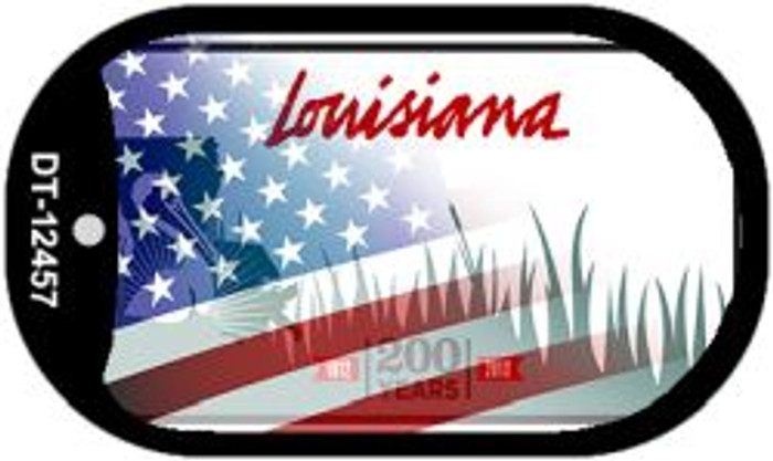 Louisiana with American Flag Novelty Metal Dog Tag Necklace DT-12457