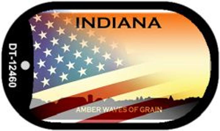 Indiana with American Flag Novelty Metal Dog Tag Necklace DT-12460
