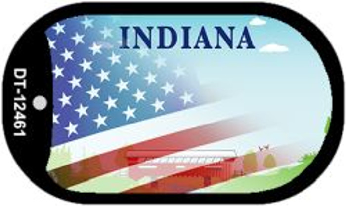 Indiana with American Flag Novelty Metal Dog Tag Necklace DT-12461
