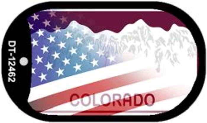 Colorado with American Flag Novelty Metal Dog Tag Necklace DT-12462