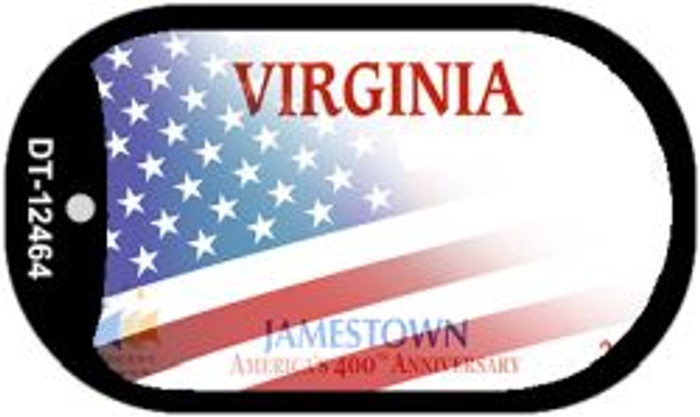 Virginia with American Flag Novelty Metal Dog Tag Necklace DT-12464