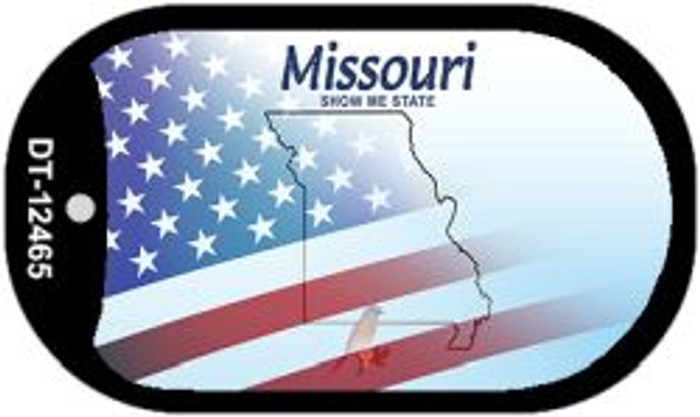 Missouri with American Flag Novelty Metal Dog Tag Necklace DT-12465