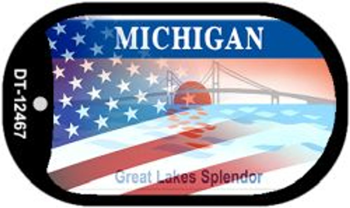 Michigan with American Flag Novelty Metal Dog Tag Necklace DT-12467