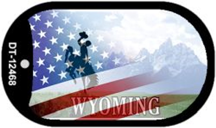 Wyoming with American Flag Novelty Metal Dog Tag Necklace DT-12468