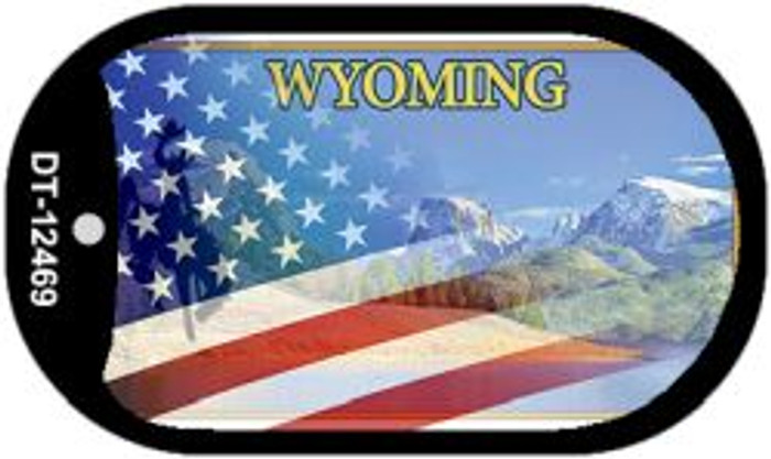 Wyoming with American Flag Novelty Metal Dog Tag Necklace DT-12469