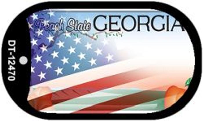 Georgia with American Flag Novelty Metal Dog Tag Necklace DT-12470