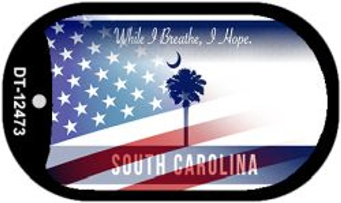 South Carolina with American Flag Novelty Metal Dog Tag Necklace DT-12473
