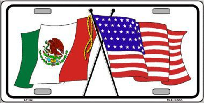United States Mexico Flag Metal Novelty License Plate LP-532
