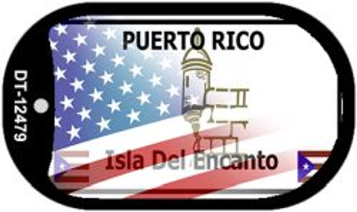 Puerto Rico with American Flag Novelty Metal Dog Tag Necklace DT-12479